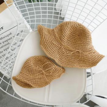 辰辰妈婴童装夏季海滩出游亲子帽子宝宝遮阳草编渔夫帽母女盆帽