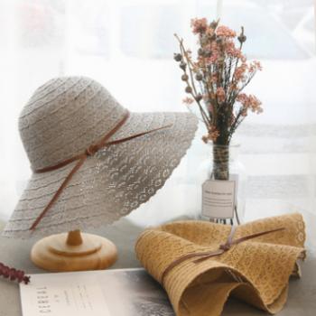 韩版遮阳帽子女士夏季防晒太阳帽 户外防晒旅游折叠太阳帽草帽女