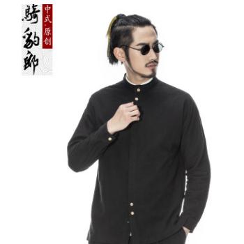 骑豹郎2017秋季新款中国风男装棉麻夹克