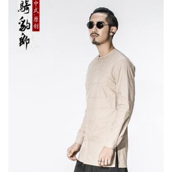 骑豹郎2018春夏中国风男士夹克休闲中式男装圆领纯棉外套男薄款潮