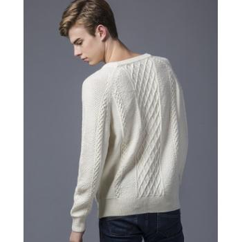 秋冬款男装毛衫欧美风圆领套头长袖提花纯色针织衫宽松