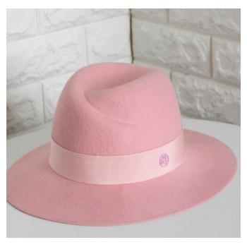 华巧 秋冬新品粉色 圆标双M羊毛呢中檐帽子羊毛毡帽礼帽女士批发