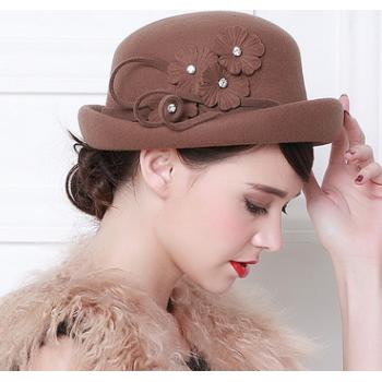 华巧 秋冬新品韩版羊毛呢圆顶双层卷边礼帽 小圆帽羊毛毡帽女士