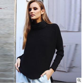 欧美冬季新款高领坑条毛衣针织衫上衣打底衫