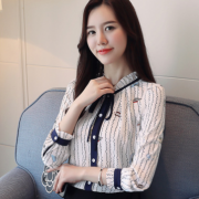 实拍雪纺衫衬衫女春季新款韩版印花长袖立领打底衫上衣小衫