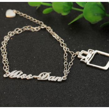 个性造型手链925银双层名字手链DIY手工定做女创意圣诞礼物批发