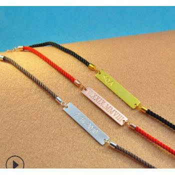 925银名字母手链定制DIY个性原创饰品女红绳手链圣诞节礼物外贸