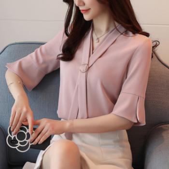 衬衫女2018夏装新款韩版时尚百搭显瘦性感雪纺衬衣韩范上衣