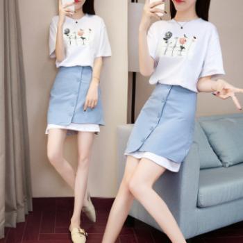 2018夏季新款韩版女装显瘦气质两件套装裙女