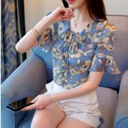 2018新款韩版雪纺衫上衣女碎花套头小衫女夏装
