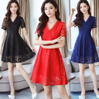 2018新款大码女装胖mm夏装韩版修身显瘦中长款蕾丝连衣裙