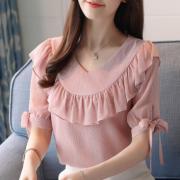 2018夏季新款短袖韩版雪纺衫女打底金线有里布防透甜美上衣女