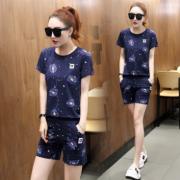 2018夏装新款韩版时尚短袖短裤女生运动休闲运动套装潮
