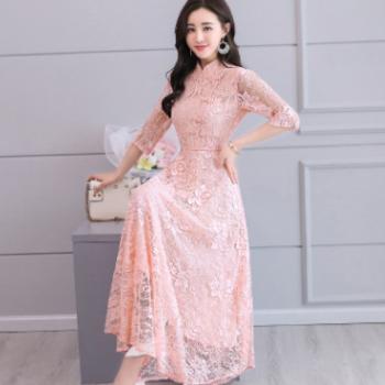 实拍2018春夏新款复古旗袍蕾丝连衣裙女中长款修身显瘦长裙