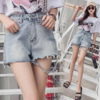 2018韩版新款时尚百搭气质A字宽松破洞卷毛边女学生牛仔短裤