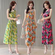 连衣裙女夏2018新款印花夏装中长款小个子修身收腰背心纯棉裙子