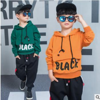 男童秋装套装2018新款韩版长袖儿童装中大童大口袋卫衣两件套潮品