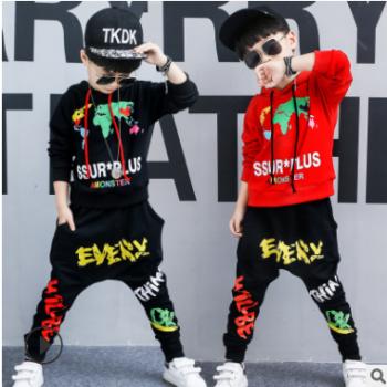 童装儿童套装2018秋装新款韩版男童套装春秋中大童连帽运动两件套