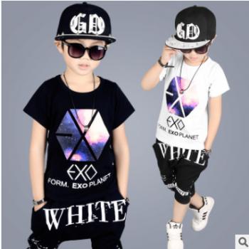 男童夏款套装2018新款中大儿童夏季韩版短袖哈伦裤套装一件代发潮