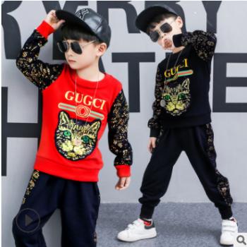 童装男童套装2018夏季新款中大童时尚彩虹短袖短裤两件套一件代发