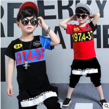 韩版童装2018夏装新款男童套装中大童儿童夏季短袖拼接两件套批发