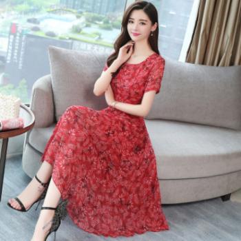 2018夏季新款女装韩版修身显瘦碎花裙子红色长裙雪纺连衣裙女夏