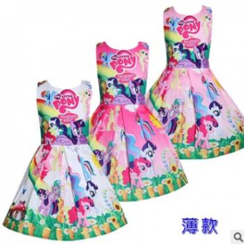 2018新款印花裙彩虹小马儿童连衣裙薄款女童卡通小公主裙8661