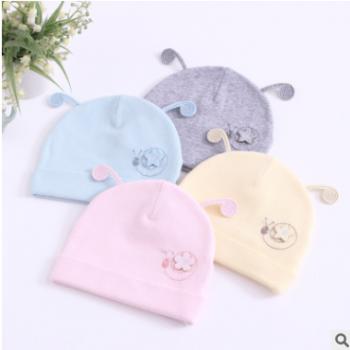婴儿帽子春秋新生儿帽0-3个月男女宝宝帽子棉儿童小蜗牛胎帽