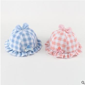 春秋宝宝帽子3-6-12个月棉夏季遮阳帽男女童婴儿太阳帽渔夫盆帽