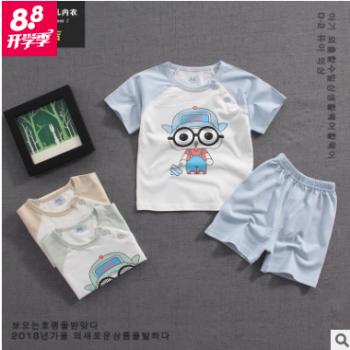 麦比吉儿童套装夏装潮2018新款宝宝纯棉短袖套装薄婴儿卡通两件套