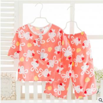 夏季童装 儿童棉绸套装 人造棉家居服 绵绸服装 厂家批发 2-15岁