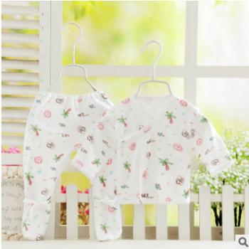 婴儿内衣套装批发纯棉新生宝宝系带和尚服2件套精美独装