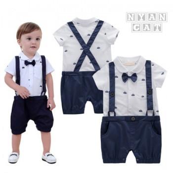童装婴儿连体衣夏男宝宝短袖爬服小船背带包屁哈衣婴儿服装