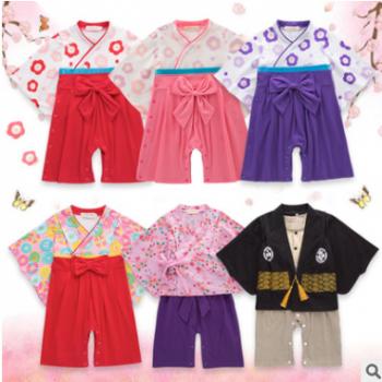 跨境童装女童夏季长袖婴儿连体衣服 蝴蝶结哈衣日式爬服印花和服