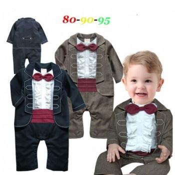男童绅士花边长袖连体哈衣婴儿爬服