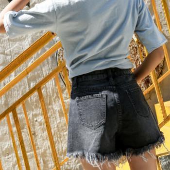 夏季新款女装2018韩版牛仔短裤破洞流苏女裤高腰A字显瘦热裤