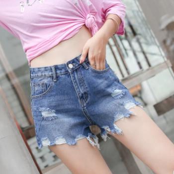 2018夏季新款韩版女装短裤修身牛仔短裤女不规则毛边高腰破洞热裤