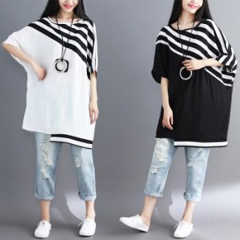 胖mm 大码女装2018夏季新款宽松蝙蝠衫棉麻t恤女士中长款休闲上衣