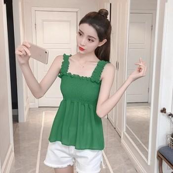 2018夏季韩版小清新无袖修身短款外穿显瘦雪纺上衣打底吊带背心女