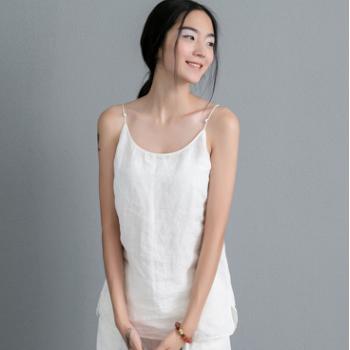 606-0089简约百搭夏季爆款女装复古手工盘扣白色棉麻打底小吊带衫