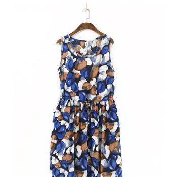303-1044文艺清新女装背心裙抽绳系带印花套头连衣裙日系夏季裙子