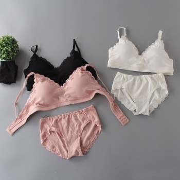 2018春夏无钢圈蕾丝可调节文胸套装棉竖条运动睡眠文胸厂家直销