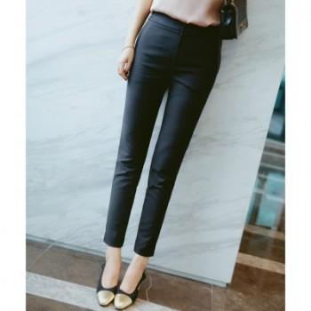 欧美高品质女装秋满天星链条配饰西裤长裤轻微弹力修身女士裤子女