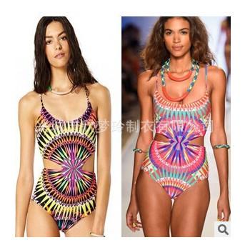 新款泳装推荐 欧美爆款泳装 数码散光泳衣连体泳衣 两色可选