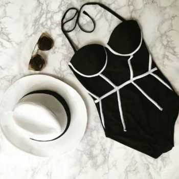 欧洲站爆款 性感连体 高腰比基尼亚马逊原单 欧美新款游泳衣