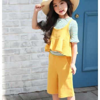 女童套装夏季2018韩版儿童公主吊带两件套棉皱褶无袖套装一件代发