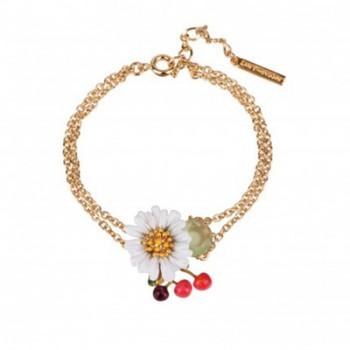 时尚新款珐琅釉白色清新雏菊樱桃系列手链双层首饰混批女