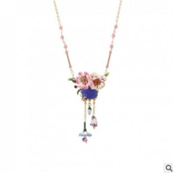 欧美时尚新品镀金镶钻珐琅釉铃兰花蓝宝石流苏短款锁骨链项链女