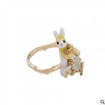 动物乐园我爱动物系列黄色可爱小萌兔子宝石开口可调节戒指配饰品