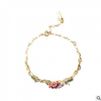 限量版花园系列珐琅彩釉多色花朵手链天然珍珠星花手镯饰品批发